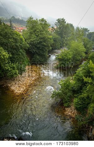 Beautiful Landscape With A River In Asturias, Spain
