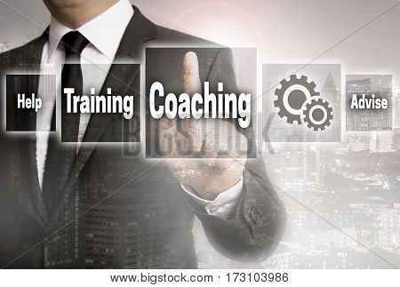 Coaching businessman with city background concept picture