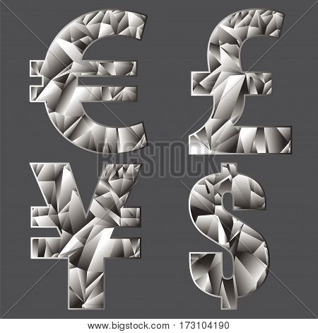 Symbols of world currencies. Polygonal. Gray background.