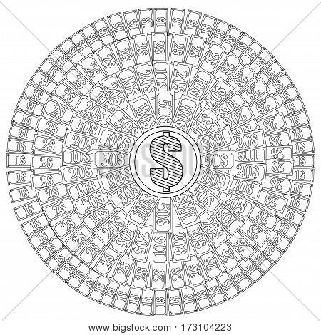 Mandala to color. Dollars. Coloring page for adults.