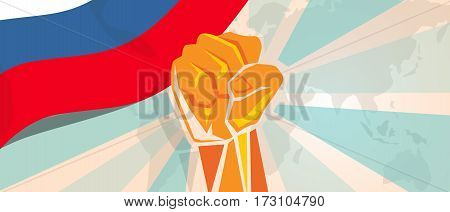 Russia fight and protest independence struggle rebellion show symbolic strength with hand fist illustration and flag vector