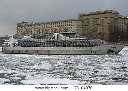 Moscow, Russia - January 16, 2017: The passenger pleasure boat-restaurant Beauty in Moscow on a cloudy day