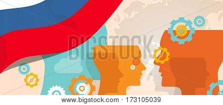 Russia concept of thinking growing innovation discuss country future brain storming under different view represented with heads gears and flag vector