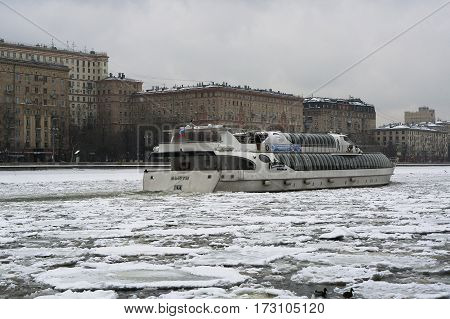 Moscow, Russia - January 16, 2017: The passenger pleasure boat-restaurant Beauty in Moscow in winter