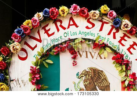 LOS ANGELES USA - OCT 23 2013: Olvera Street in Los Angeles. Olvera Street is the oldest part of downtown LA. It is California State Historic Landmark since 1953.