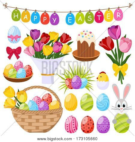 Easter day decorative icons set with colorful eggs bunny chick in eggshell cake bow isolated vector illustration