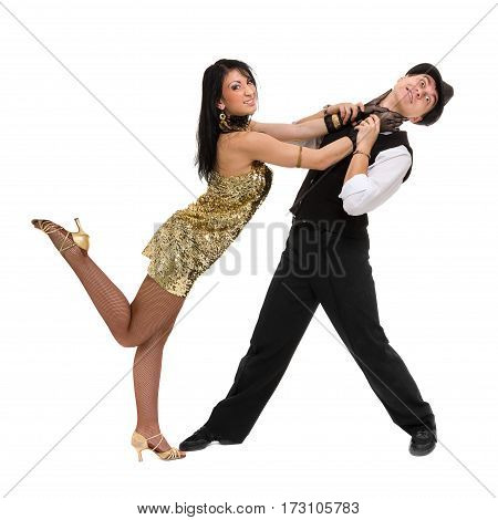 Cabaret dancer couple dancing. Retro fashion style, isolated on white background in full length.