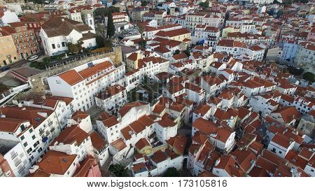 Aerial View of Alfama, Lisbon, Portugal