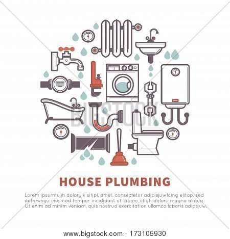 House plumbing vector poster of bathroom and kitchen household icons