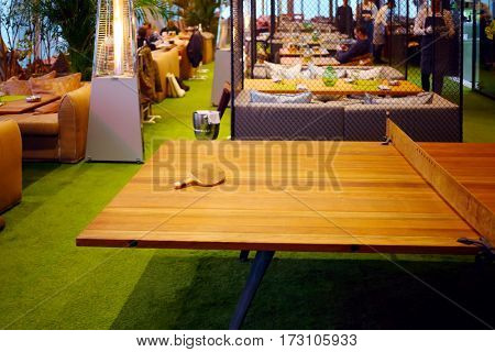 MOSCOW - OCT 20, 2016: Table tennis in restaurant on top of Eye tower in Moscow City business complex, Restaurant 354 occupies three floors in Oko tower in Moscow-City