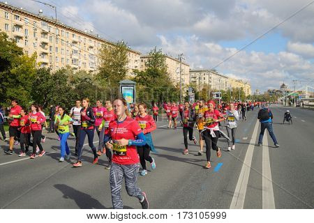 MOSCOW - SEP 25, 2016: Participants at Promsvyazbank Moscow marathon amateurs and professionals, athletes from Russia and other countries again ran 42.2 km on central streets and quays of Moscow