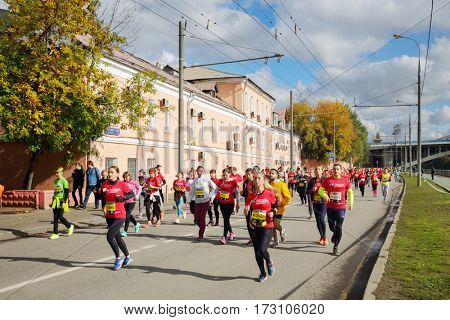 MOSCOW - SEP 25, 2016: Participants of Promsvyazbank Moscow marathon amateurs and professionals, athletes from Russia and other countries again ran 42.2 km on central streets and quays of Moscow