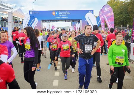 MOSCOW - SEP 25, 2016: Runners at Promsvyazbank Moscow marathon amateurs and professionals, athletes from Russia and other countries again ran 42.2 km on central streets and quays of Moscow