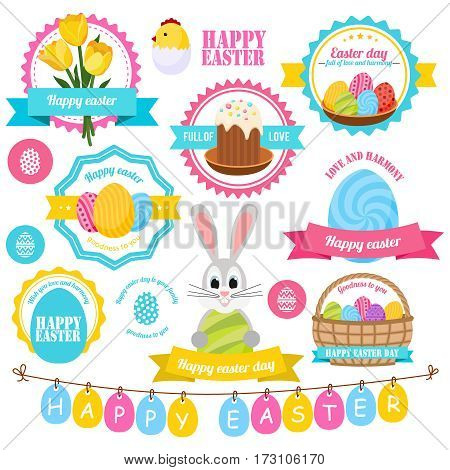 Easter colorful labels set with cake bunny posy of tulips chick painted eggs basket isolated vector illustration