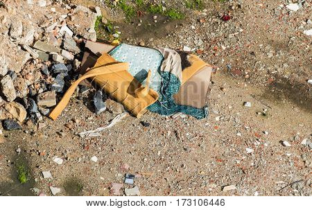 Construction Waste Debris, Garbage Bricks And Material From Demolished House
