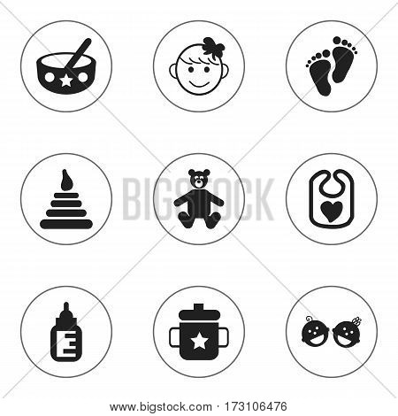 Set Of 9 Editable Baby Icons. Includes Symbols Such As Twins Babies, Tower, Nursing Bottle And More. Can Be Used For Web, Mobile, UI And Infographic Design.