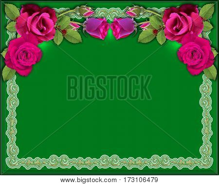 Background Red roses on a green background with illumination and an ornament