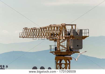 Closeup View Of A Yellow Tower Crane