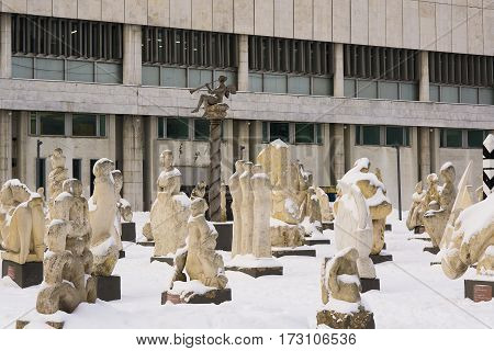 Moscow, Russia - January 17, 2017: White stone sculpture exhibition in the park Muzeon Arts in Moscow