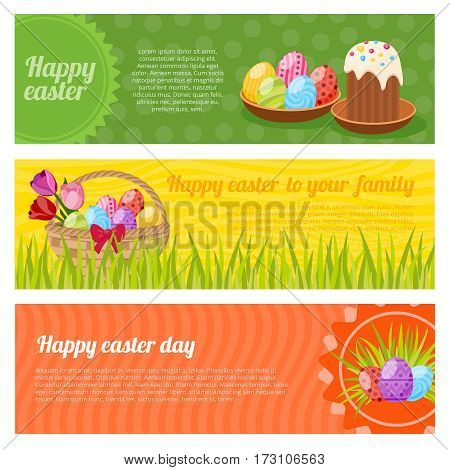 Happy easter horizontal banners set with posy of tulips eggs on plate green grass isolated vector illustration