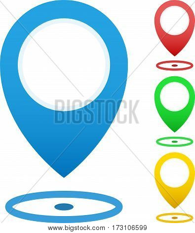 Set Of Map Markers, Map Pins, Pointer Elements. 4 Colors, Orange, Blue, Green, Red. Location, Addres