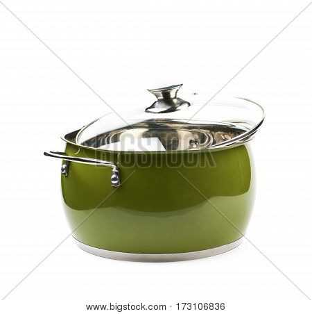 Steel green stock pot with a glass lid, composition isolated over the white background