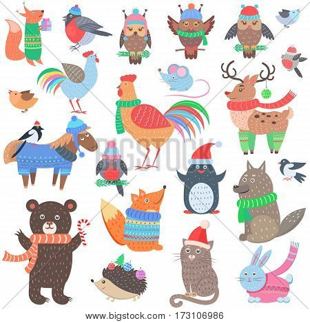 Christmas forest animals set. Retro fairy elements in winter cloth. Vintage fox, owl, cock, deer, horse, wolf, penguin, cat, rabbit, hedgehog in 60s 70s style. Comic creatures vector illustration