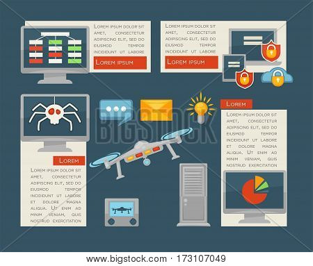 Internet security and computer digital control vector infographics on viruses and smart controlled devices technology