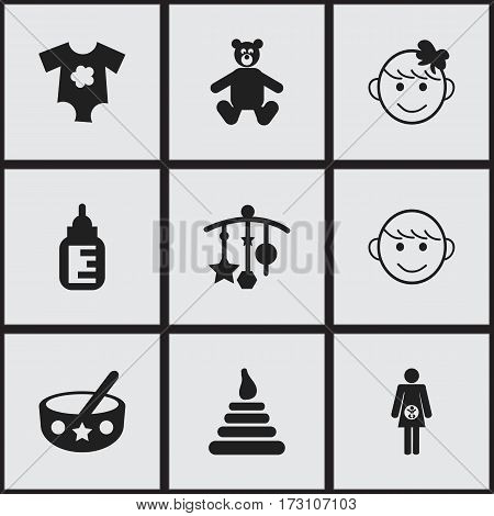 Set Of 9 Editable Child Icons. Includes Symbols Such As Teddy, Merry Children, Small Dresses And More. Can Be Used For Web, Mobile, UI And Infographic Design.