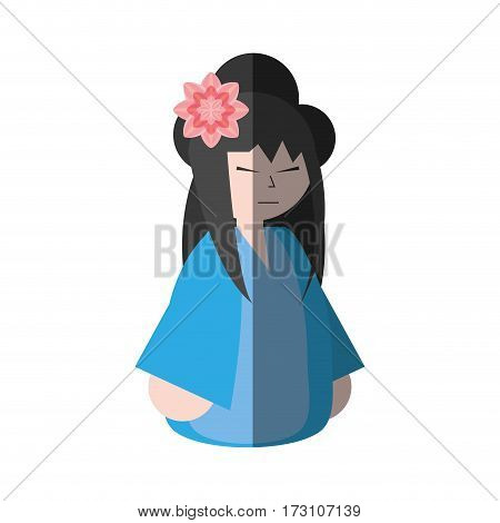 asian woman wearing dress and sakura flower shadow vector illustration eps 10