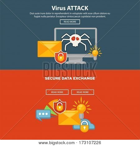 Internet security and computer malware or digital protection vector web site or landing page template. Personal data protection software concept