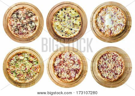 Different kinds of pizza on a white background