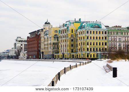 Moscow, Russia - January 17, 2017: Office buildings on the waterfront Yakimanskaya in Moscow in winter