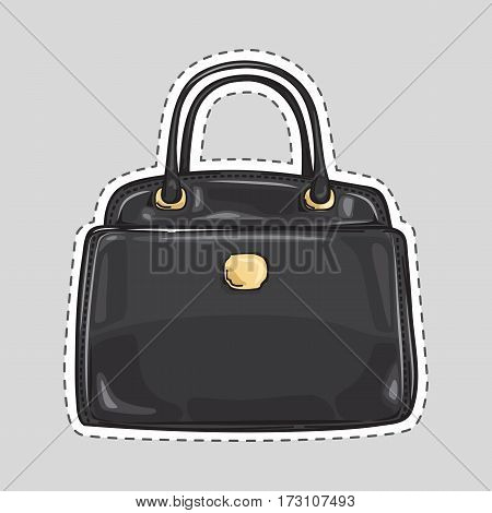 Ladies handbag with handle and clips isolated in flat style. Patch icon. Elegant black leather bag. Editable female accessory object. Modern trendy casual sack. Luxury case. Vector illustration