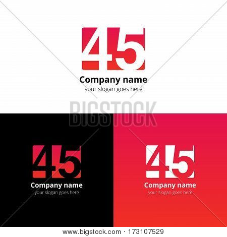 45 logo icon flat and vector design template. Monogram years numbers four and five. Logotype forty-five with red-pink gradient color. Creative vision concept logo, elements, sign, symbol for card,