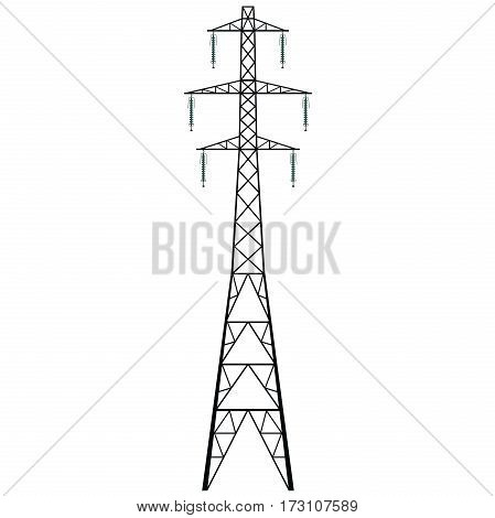 Vector high voltage pylon on white background. A metal pole voltage isolated from background. Surface industrial illustration. Power line pylon with safety locks. Nuclear facilities and power arteries