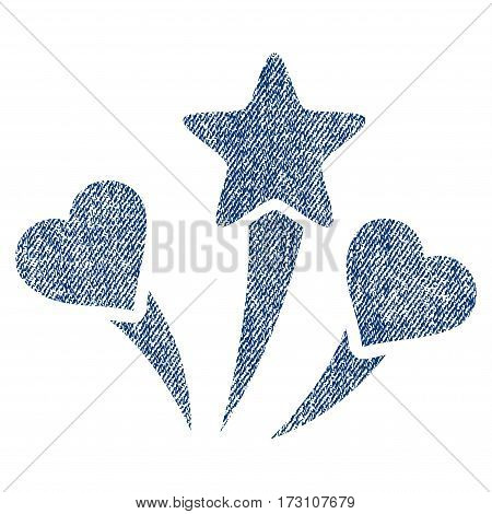 Lovely Fireworks vector textured icon for overlay watermark stamps. Blue jeans fabric vectorized texture. Symbol with dirty design. Blue ink rubber seal stamp with fiber textile structure.