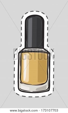 Nail polish patch with dashed line. Women nail accessory. Bright stylish modern color. Glamour cosmetics. Manicure and pedicure product. Decorative cosmetics accessory. Cut it out. Vector