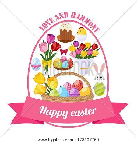 Easter day icons set in shape of ellipse with painted eggs bunny flowers pink ribbon vector illustration