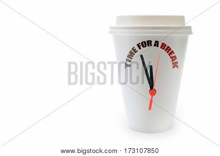 Taking a break concept with clock hands on a plastic coffee cup with background space