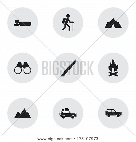 Set Of 9 Editable Trip Icons. Includes Symbols Such As Gait, Field Glasses, Refuge And More. Can Be Used For Web, Mobile, UI And Infographic Design.
