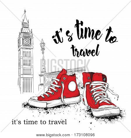 Hand drawn sneakers on background. Run Concept. London, Big Ben. Vector illustration