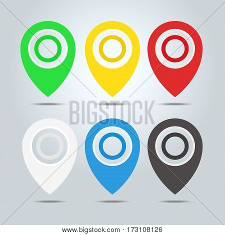 Set Of Map Markers, Map Pins, Pointer Elements. 6 Colors, Orange, Blue, Green, Red, White, Black. Lo