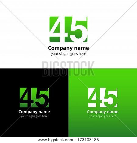 45 logo icon flat and vector design template. Monogram years numbers four and five. Logotype forty-five with green gradient color. Creative vision concept logo, elements, sign, symbol for card,