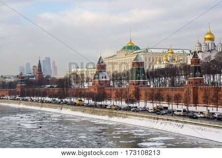 Kremlin Embankment. View of the Moscow Kremlin in winter day.