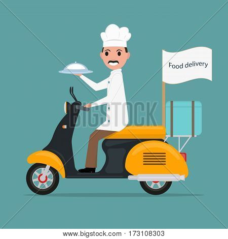 Vector illustration funny cartoon chef cook man on scooter driven by tray of food. Concept service fast delivery food lunch meals. Flat style.