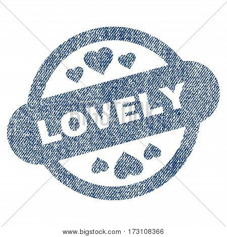 Lovely Stamp Seal vector textured icon for overlay watermark stamps. Blue jeans fabric vectorized texture. Symbol with unclean design. Blue ink rubber seal stamp with fiber textile structure.