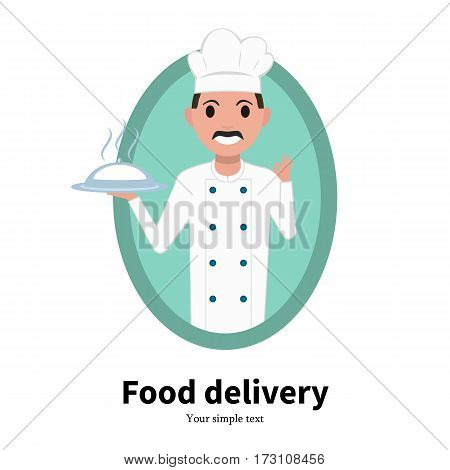 Vector illustration cartoon portrait of a male chef cook. Isolated on white background. Logo icon chef cook. Food delivery service. Man in a white chef hat. Flat design.