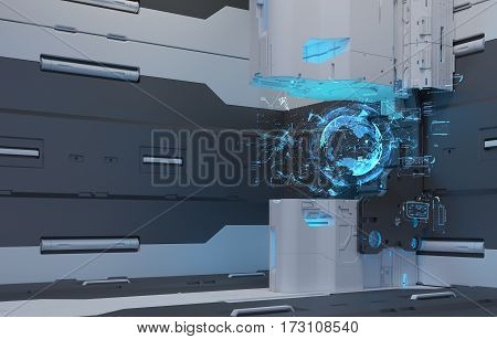 The interior of the future. The projection of the earth. Volume hologram. Futuristic interface. 3D Rendering. 3D illustraion