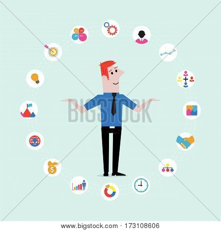 Businessman present business icons.Businessman juggling business icons.Concept business vector illustration